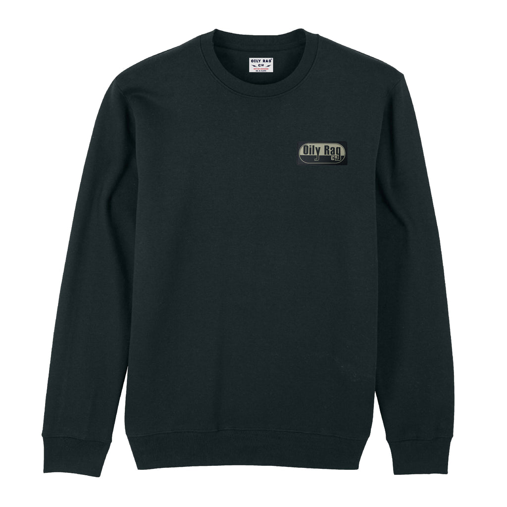 Mens black sweatshirt, sweater, retro moto badge