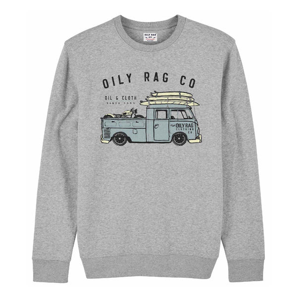 Ratty Truck Crew Neck Sweatshirt - Grey Heather