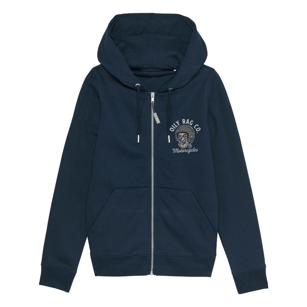 Women's hoodie, lounge wear, navy blue hoodie, tiger, moto, motorcycle, biker girl, hoody, bengal, cat,