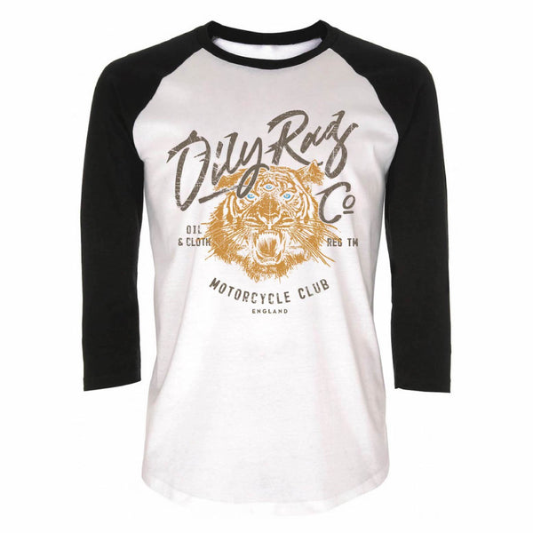 Motorcycle Club Tiger Baseball Top - White