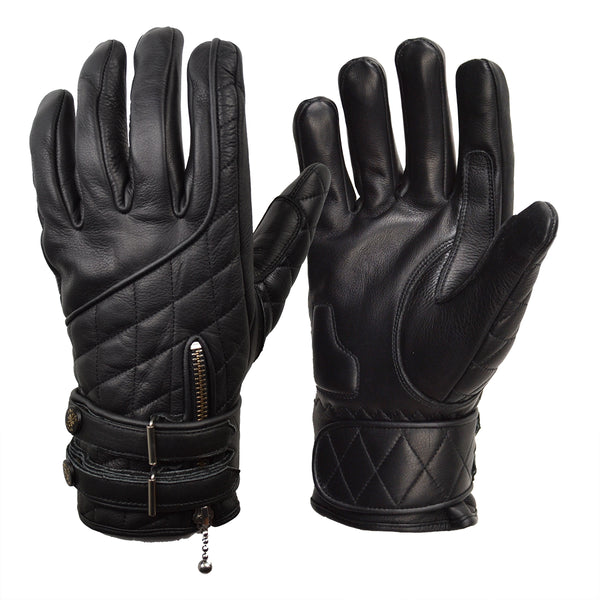 GOLDTOP Quilted Cafe Racer Gloves - Black