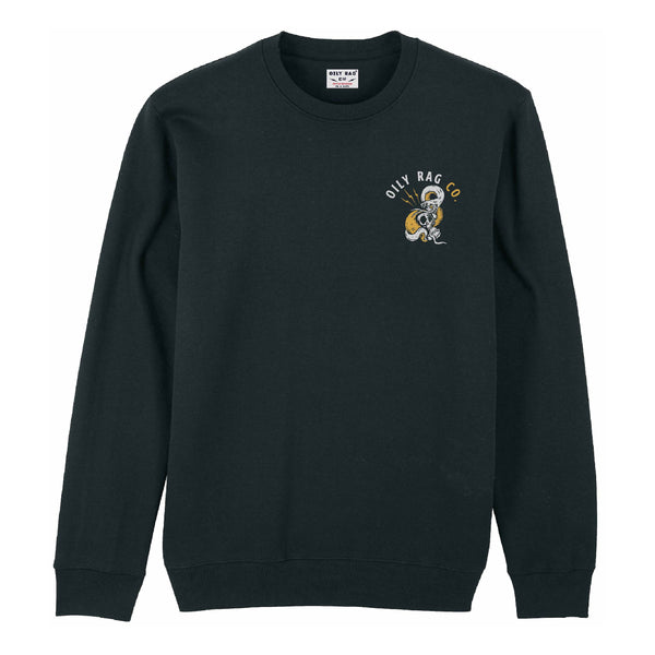 Skull & Snake Crew Neck Sweatshirt - Black