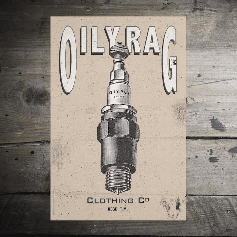 Oily Rag Spark Plug Alloy Sign