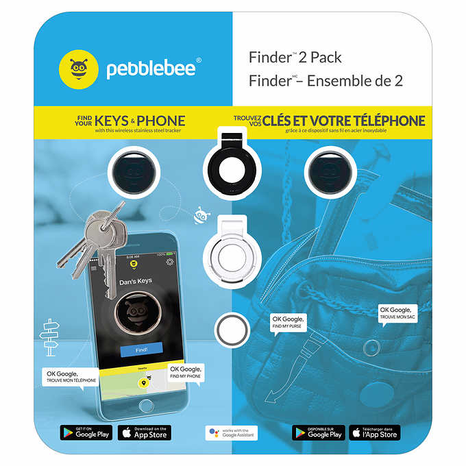 Pebblebee Tracker - Item and Phone Finder, 2-pack