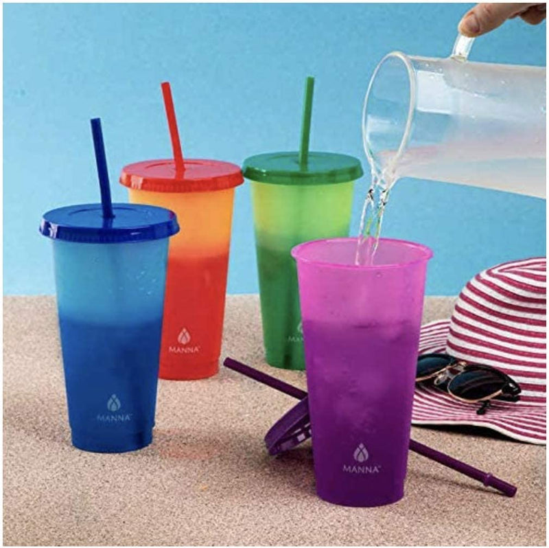 12 Pack Manna Color Changing Reusable Tumblers with Straw Set