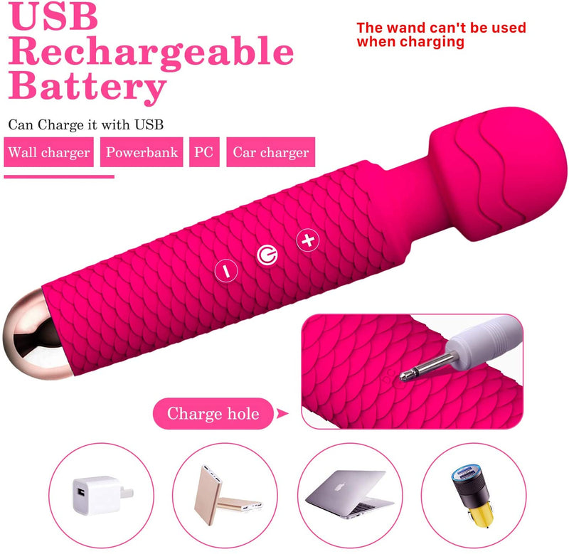 Wand Massager, Rechargeable Wireless Massager Tool with 25 Powerful Vibration Mode for Back Neck Shoulder Muscle Aches Sport Recovery (Rose)