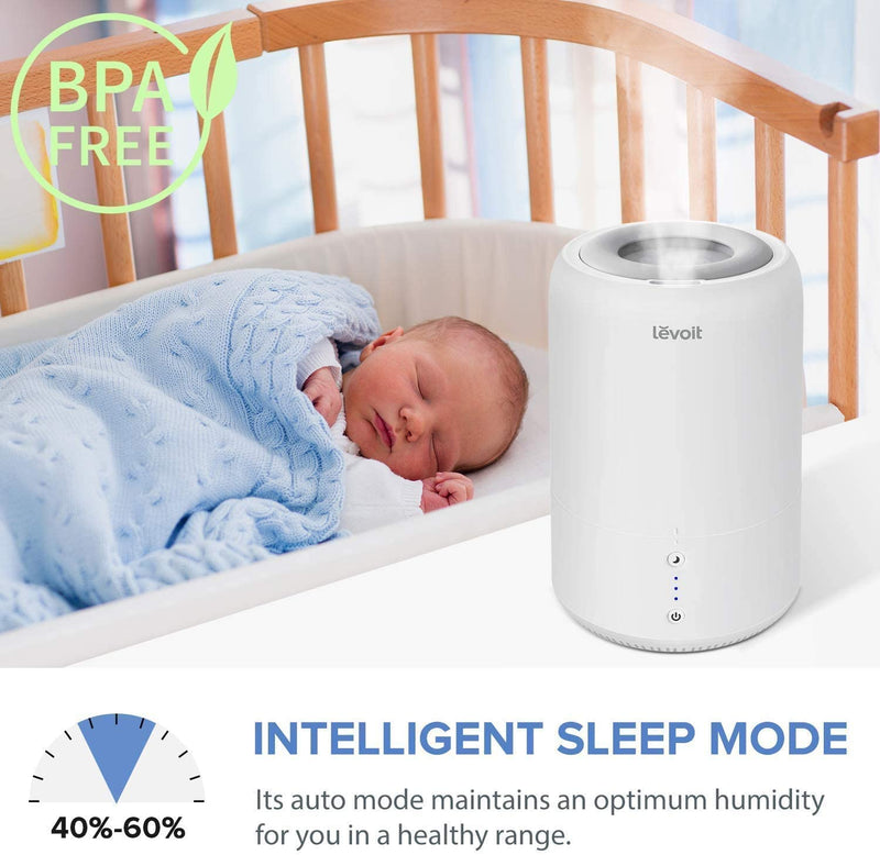 LEVOIT Top Fill Humidifier, BPA Free, Ultrasonic Cool Mist Humidifier for Bedroom Baby