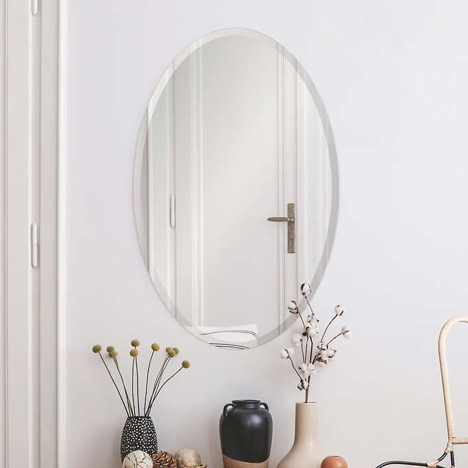 Ollie Frameless Oval Mirror with Beveled Edge
