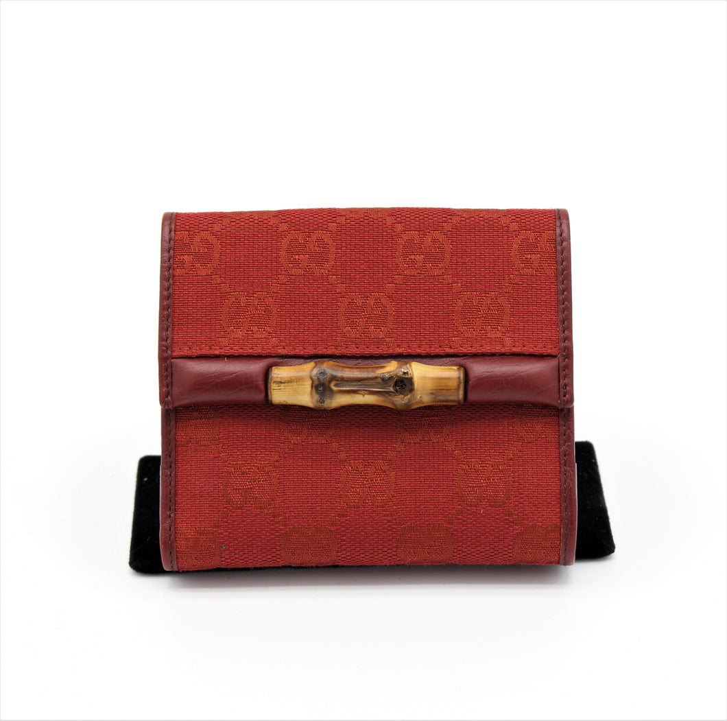 GUCCI Vintage Red Bamboo Wallet