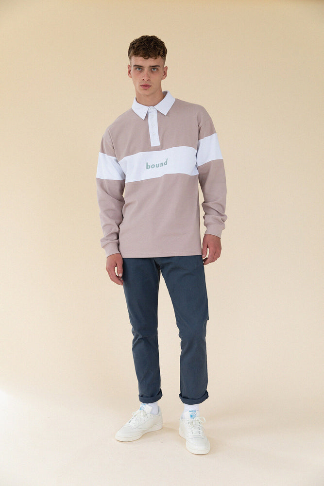 TAUPE PANEL RUGBY POLO