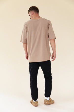TAN FINE STRIPE TEE