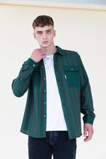 PINE STRIPE LIGHTWEIGHT OVERSHIRT