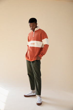 BURNT ORANGE PANEL 1/4 ZIP SWEATSHIRT