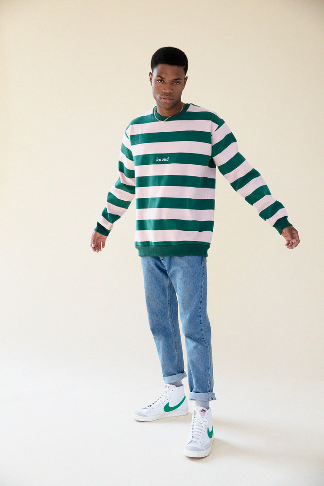 Load image into Gallery viewer, GREEN & PINK WASHED STRIPE SWEATSHIRT