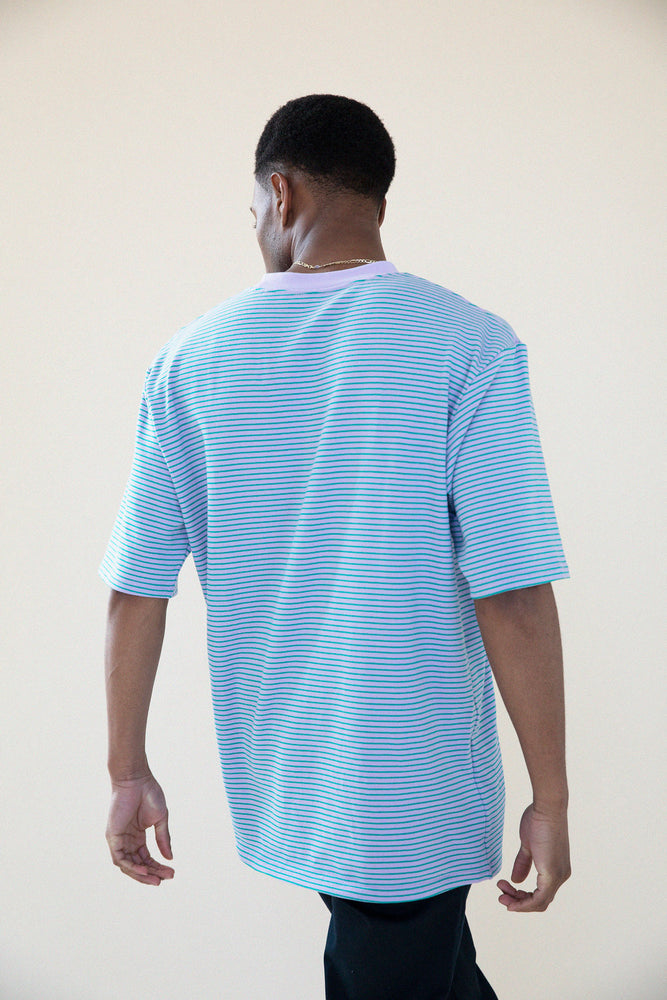 Load image into Gallery viewer, LAVENDER FINE STRIPE TEE