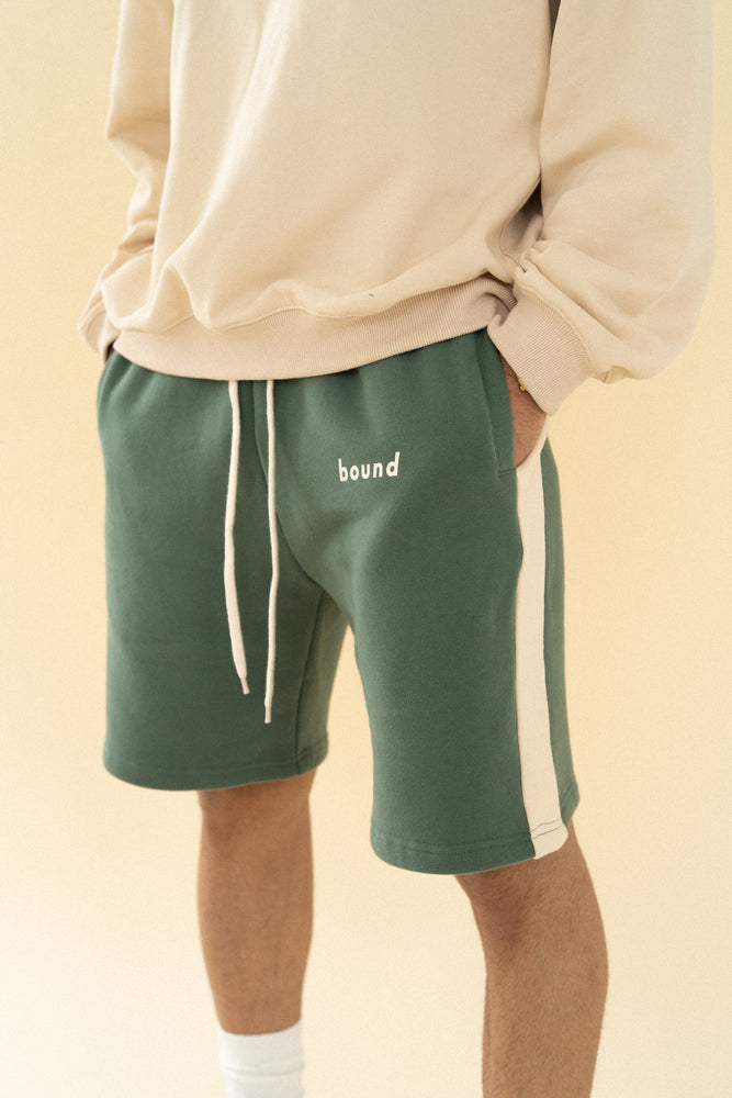 Load image into Gallery viewer, MOSS STRIPE JOGGER SHORTS