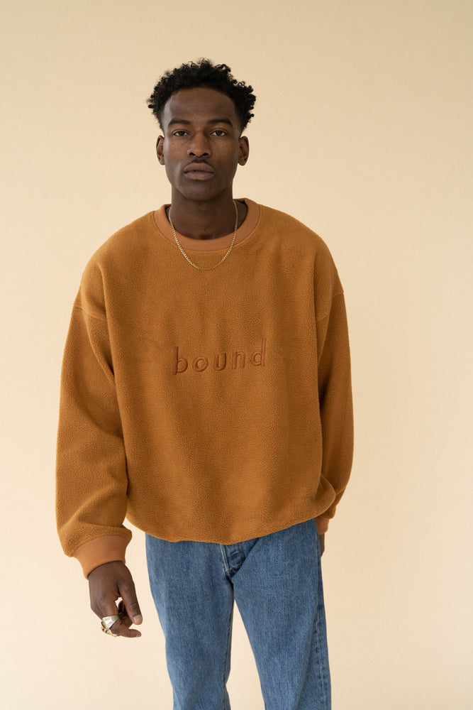 TAN REVERSE FLEECE OVERSIZED SWEATER