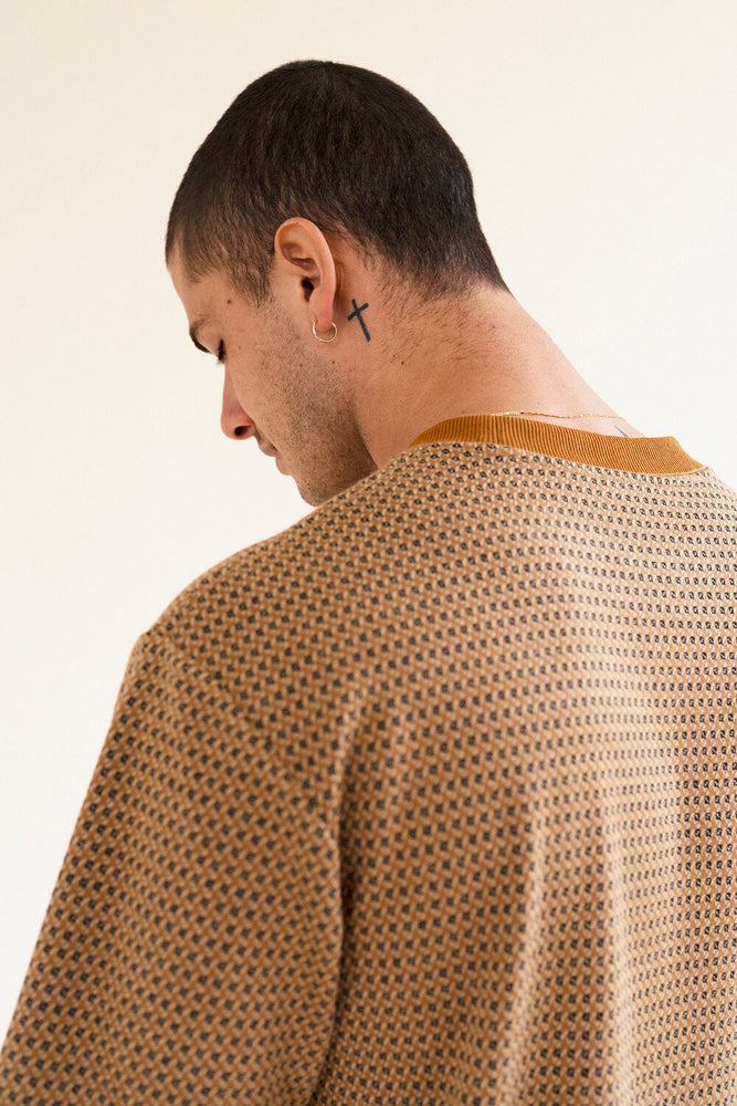 Load image into Gallery viewer, WALNUT JACQUARD KNIT TEE