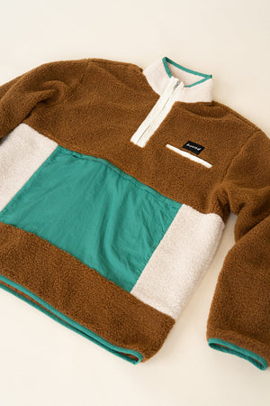 RETRO PANEL HALF ZIP FLEECE PULLOVER