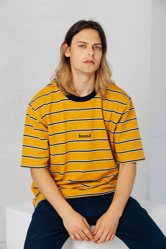 Load image into Gallery viewer, MUSTARD STRIPE TEE