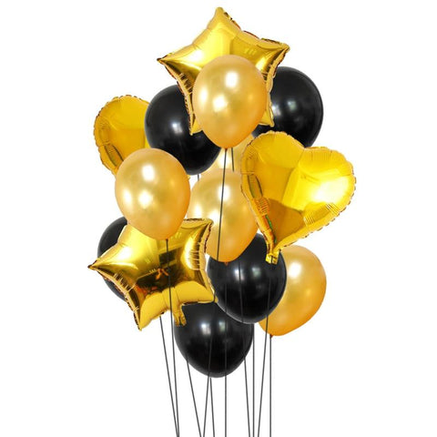 Balloons Foil & Latex Pack of 12-14 Black-Gold - Basics.Pk
