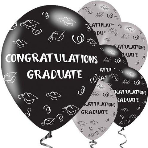 Balloons Graduation Pack of 8 Black - Basics.Pk