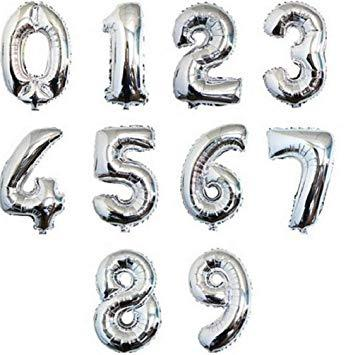 Balloons Self Inflating Silver Foil Number Balloon - Basics.Pk