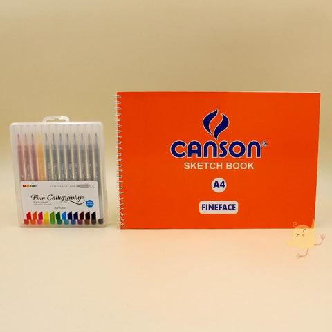 Art Pack 12 Calligraphy Pen + CANSON Sketch Book (A4) - Basics.Pk