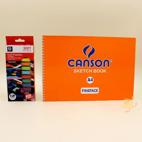 Art Pack Art Nation 12 Soft Pastels + CANSON Sketch Book (A4) - Basics.Pk