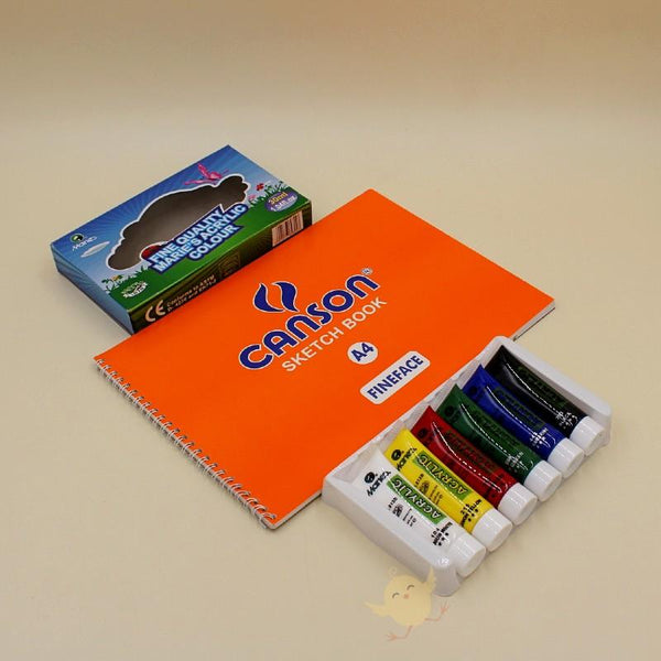 Art Pack MARIES 6 Acrylic Paints + CANSON Sketch Book (A4) - Basics.Pk