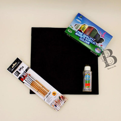 "Art Pack MARIES 6 Acrylic Paints [30ml] + Art Nation Wooden Mix Brush Set - Pack of 6 + Art Favorite Rectified Turpentine 120ml + Chinese Cloth Canvas 11"" x 11"" - Black Color - Basics.Pk"