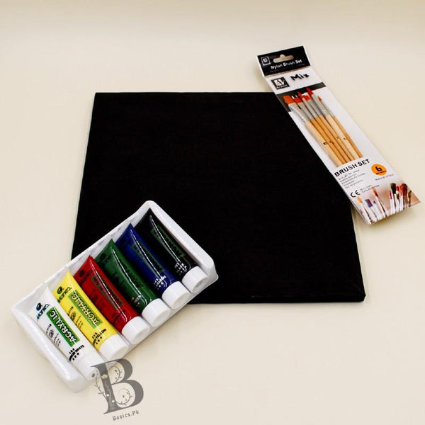 "Art Pack MARIES 6 Acrylic Paints [30ml] + Chinese Cloth Canvas 11"" x 11"" - Black Color + Art Nation Wooden Mix Brush Set - Pack of 6 - Basics.Pk"