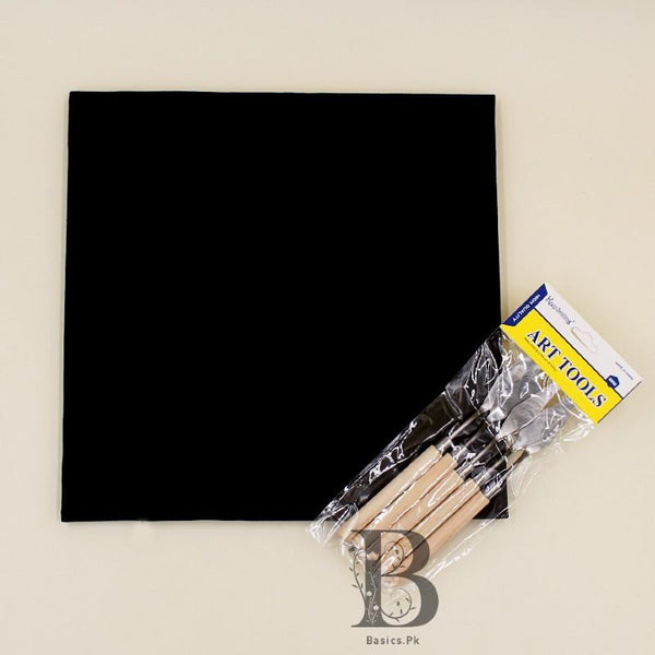 "Art Pack Keep Smiling KNIVES Palette Set 5 Pcs + Chinese Cloth Canvas 11"" x 11"" - Black Color - Basics.Pk"