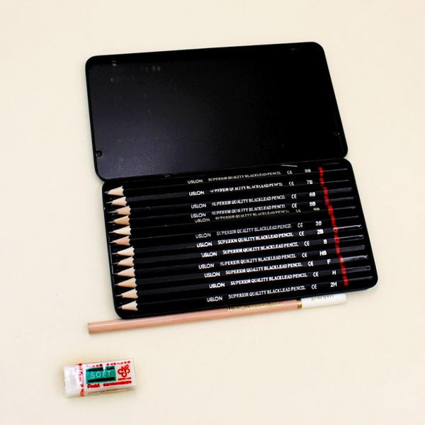 Art Pack of Art Pencil Tin Box + White Charcoal Pencil + Pentel Eraser - Basics.Pk
