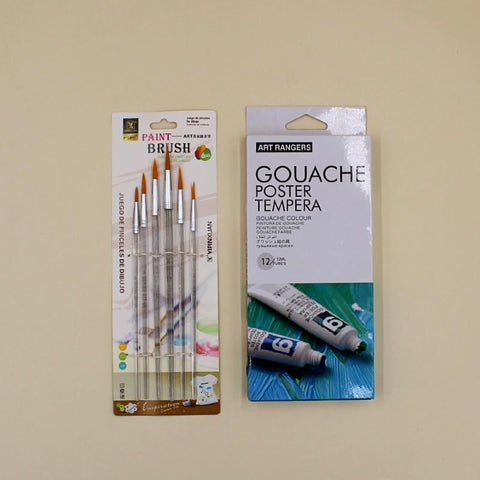 Art Pack Gouache Water color tubes + Transparent Round Brushes - Basics.Pk