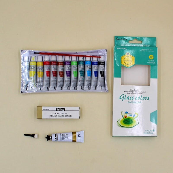 Art Pack Keep Smiling Glass Color + Wamiq Relief Liner Golden - Basics.Pk