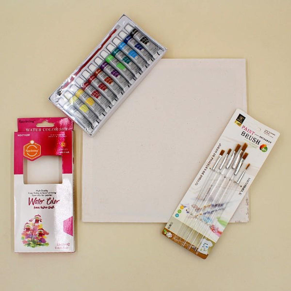 Fine Arts Yipin 6 Brushes + Keep Smiling Water Colors + Canvas (12 * 12) - Basics.Pk