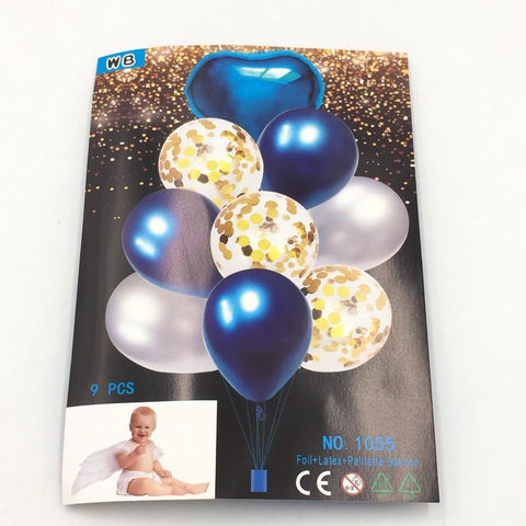Balloons Confetti + Foil Blue Pack of 9 - Basics.Pk