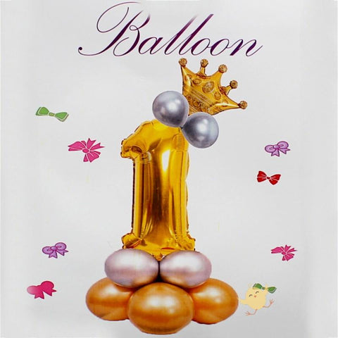 Balloons Bunch Foil Golden No. 1, Crown Balloon, Metallic Balloons - Basics.Pk