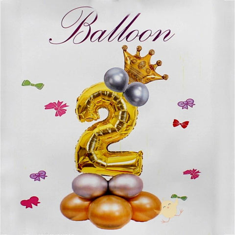 Balloons Bunch Foil Golden No. 2, Crown Balloon, Metallic Balloons - Basics.Pk