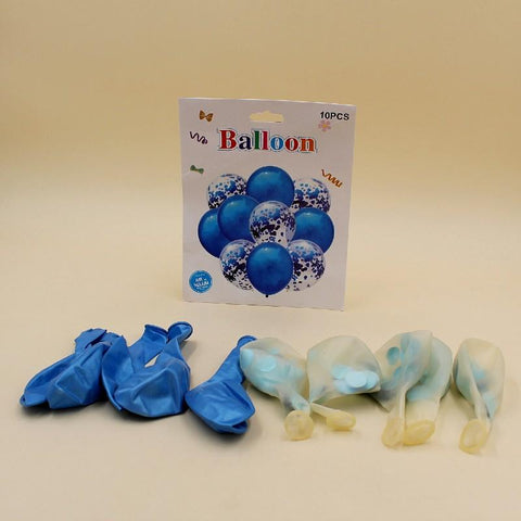 Balloons 5 Confetti + 5 Large Blue (Pack of 10) - Basics.Pk