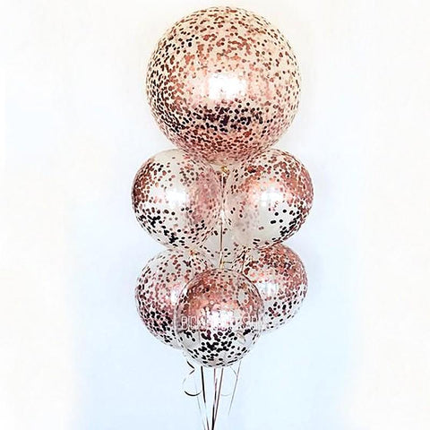 "Balloons Glitter Plastic Single 12"" Rose - Basics.Pk"