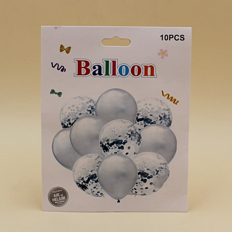 Balloons 5 Confetti + 5 Large Silver (Pack of 10) - Basics.Pk