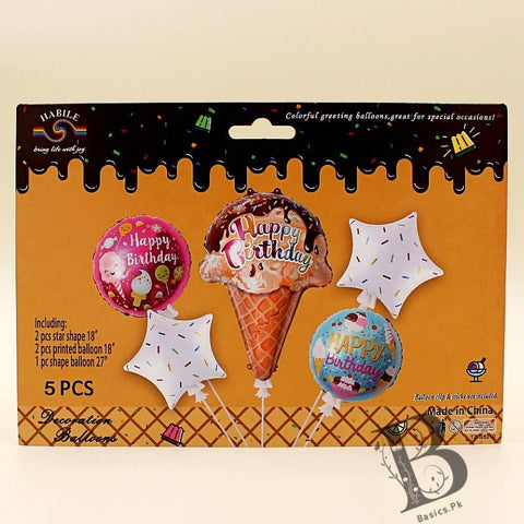 Balloons Foil HBD Ice-Cream Shape Pack of 5 - Basics.Pk