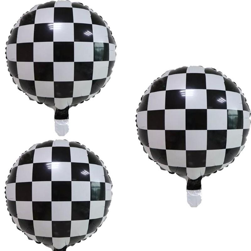 Balloons Foil Round Square Check Box Black and White - Basics.Pk