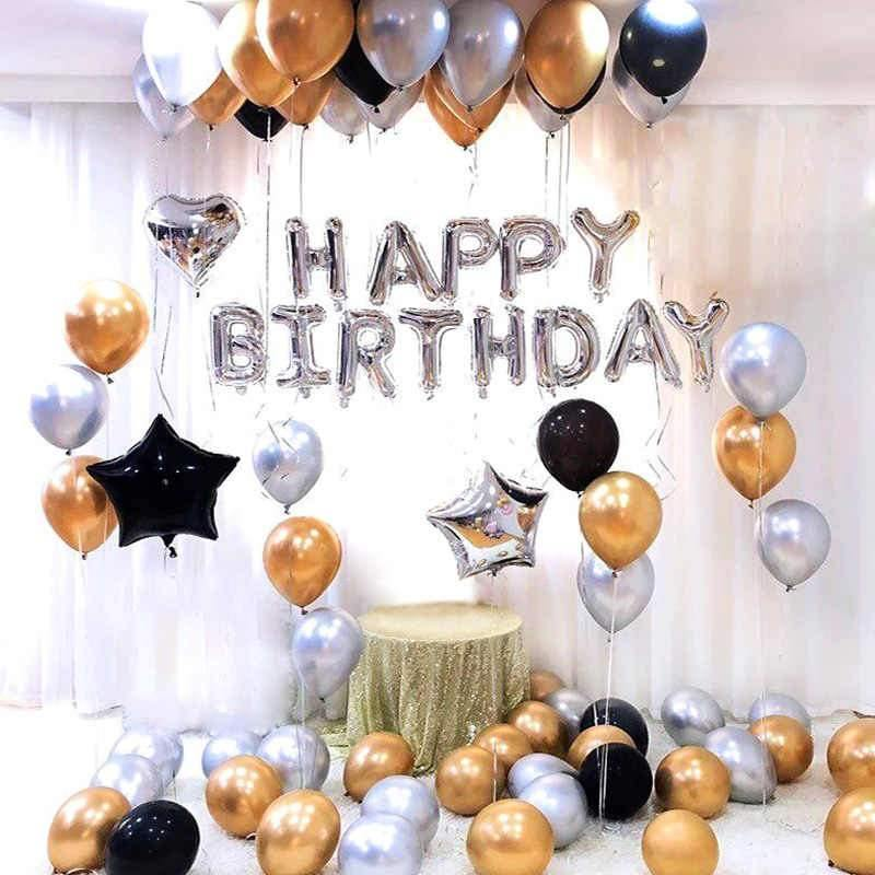 Balloons Bunch Foil Heart/Star Black,Silver&Gold (Happy Birthday balloons) Pack - Basics.Pk