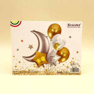 Balloons Foil Silver Moon with Stars and Latex Balloon - Pack of 6 - Basics.Pk