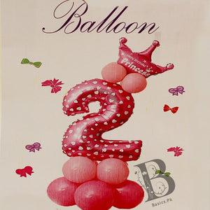 Balloons Princess Number 2 and Crown in PINK (12 Pack) - Basics.Pk