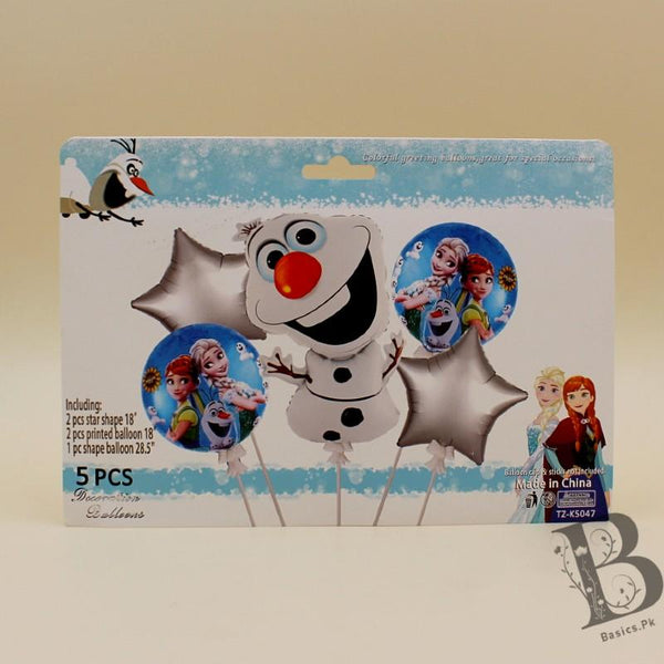 Balloons Foil Frozen Princess and Olaf Pack of 5 - Basics.Pk