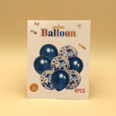 Balloons Confetti + Metallic Blue Pack of 8 - Basics.Pk